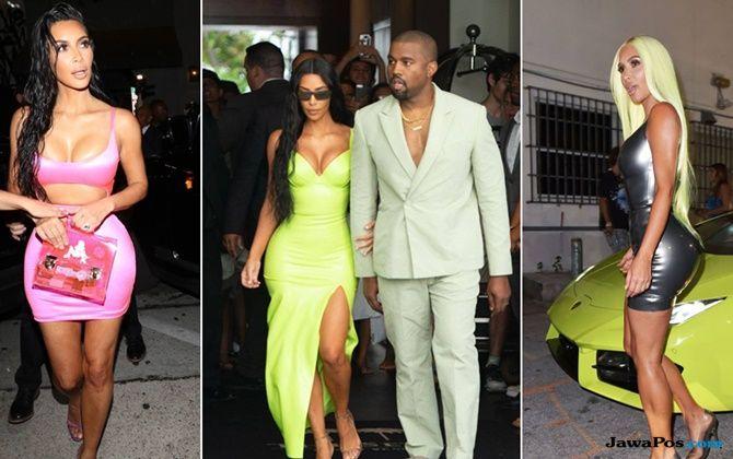 kim kardashian, tren baju neon, gaya busana kim kardashian,