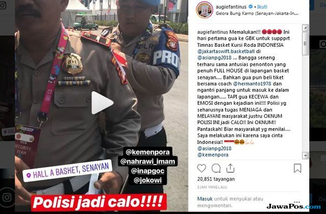 Cerita Augie Fantinus Ungkap Oknum Polisi Jadi Calo Tiket