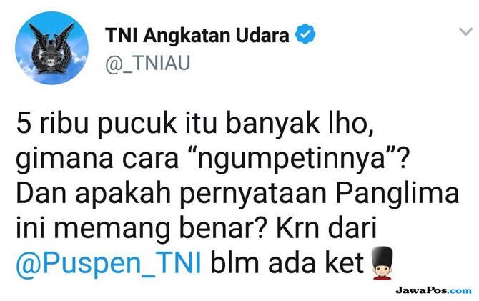 Cuitan akun Twitter resmi TNI Angkatan Udara, @_TNIAU