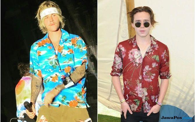 Brooklyn Beckham, Justin Bieber, tren hawaiian shirt,