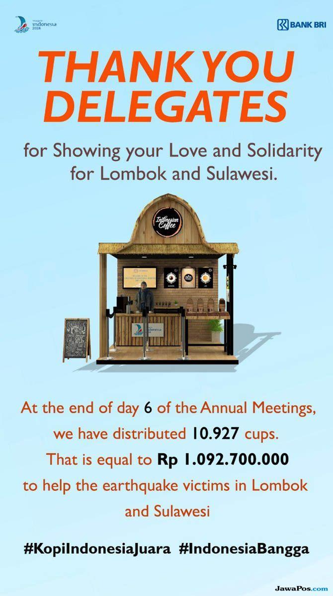 Donasi Kopi Gratis Untuk Korban Gempa Lombok dan Sulteng Capai Rp 1 M