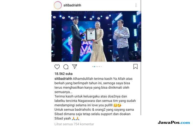 Lagu Lagi Syantik Pecahkan Rekor MURI, Siti Badriah Haru