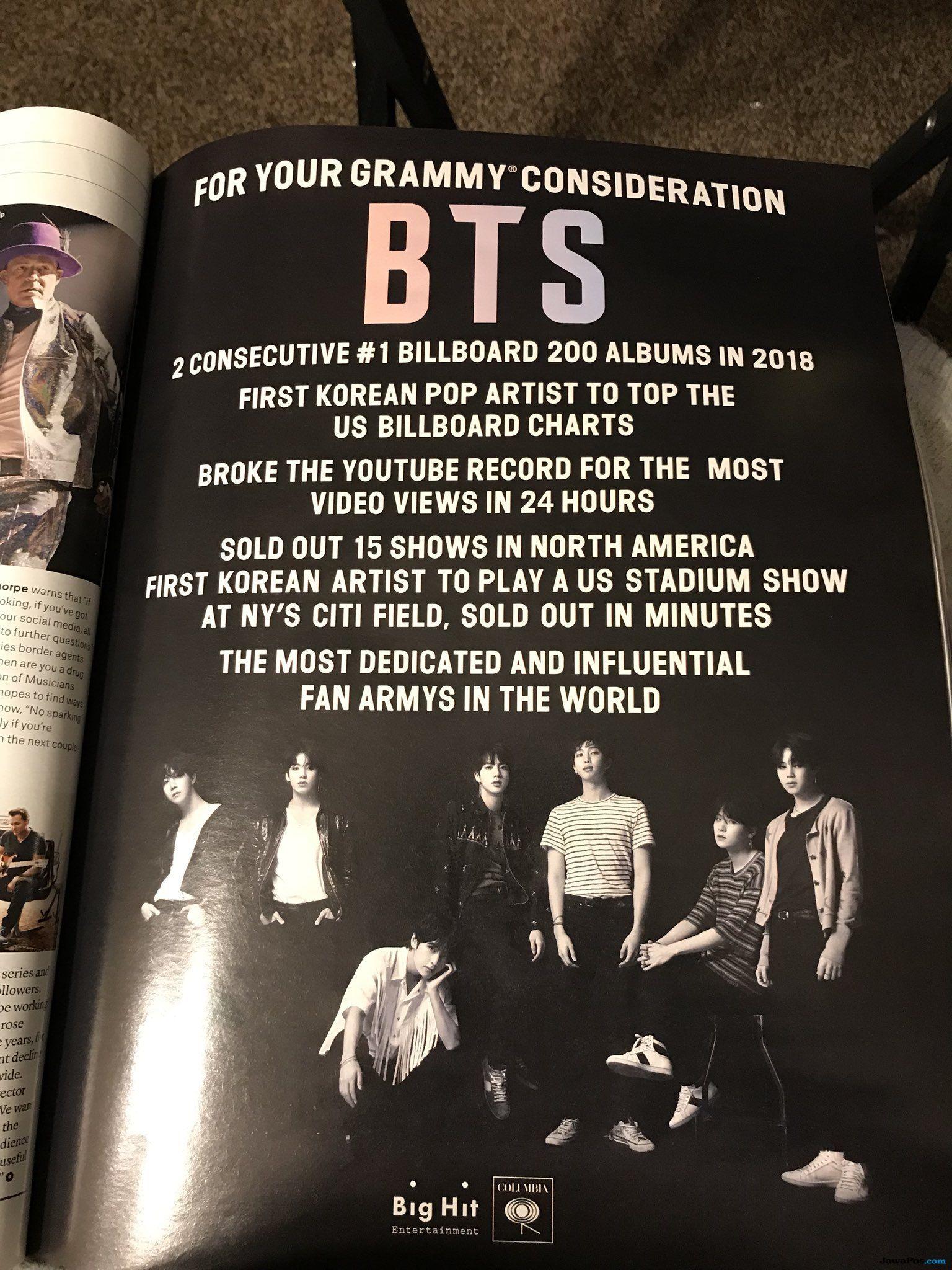 Majalah Billboard Muat Iklan Permintaan BTS Masuk Grammy Awards 2019