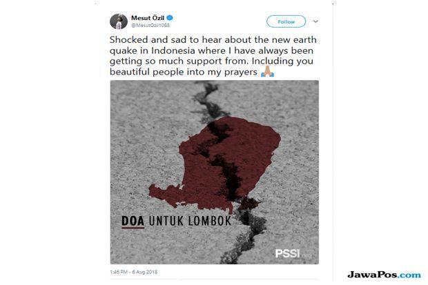 gempa bumi, gempa lombok, Arsenal, Mesut Ozil, Gempa Tsunami lombok, Gempa NTB