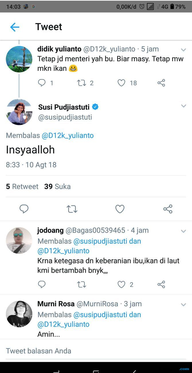 Netizen Doakan Susi Pudjiastuti Jadi Menteri KKP Dua Periode