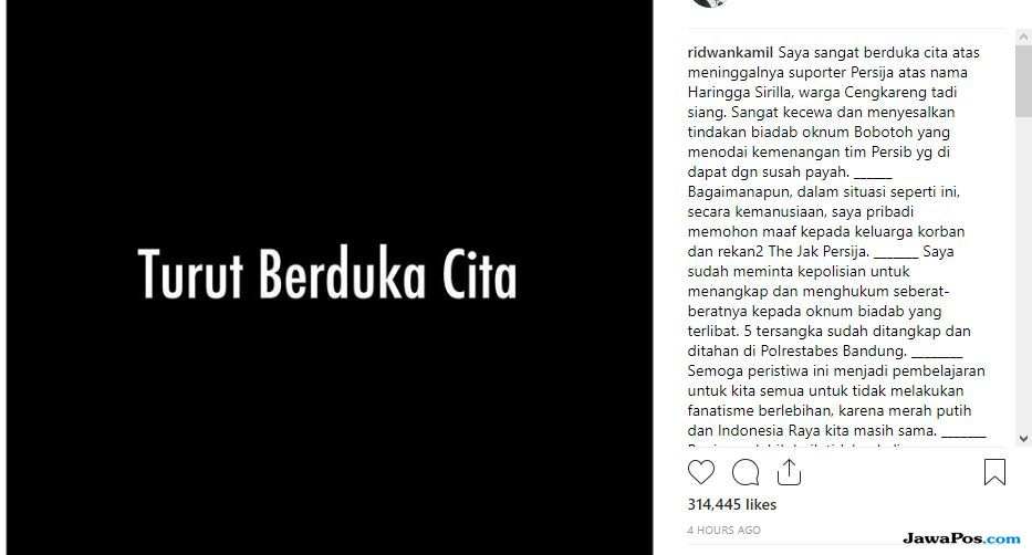 Ridwan Kamil, Haringga Sirilla, Persib Bandung, Persija Jakarta, Liga 1 2018