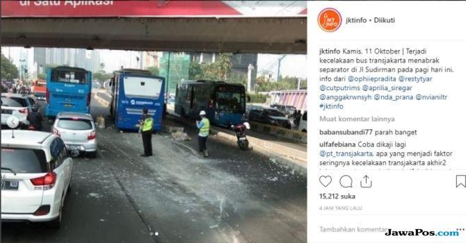 Transjakarta Tabrak Separator Lagi, Warganet: Bekas Sopir Kopaja