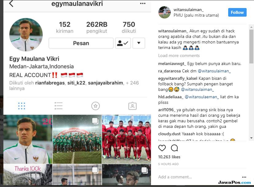 Egy Maulana sudah tak lama perbarui statusnya di Instagram.
