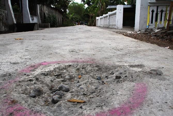 Kondisi jalan rigid beton di Desa Sidokerto yang dibangun menggunakan Dana Desa