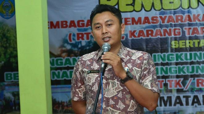 SUPPORT: Kasi P2M BNNK Nganjuk Setiawan Budianto memberikan sambutan.