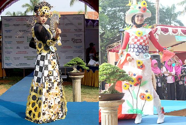 KREATIF: Peserta fashion show limbah plastik tampil memukau di hadapan penonton.