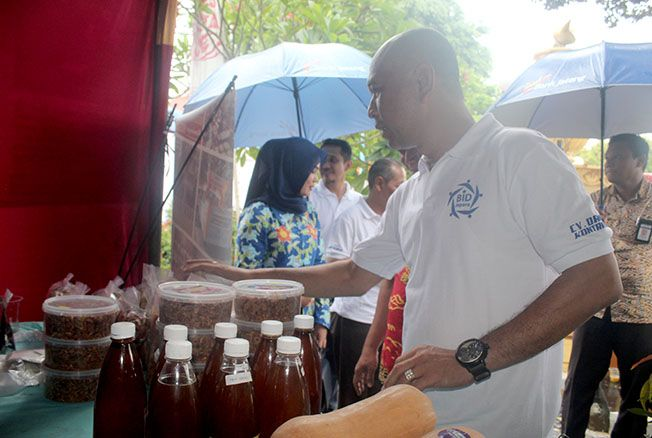 SUKSES: Wakil Bupati Jepara Dian Kristiandi mengunjungi stand Bursa Inovasi Desa (BID) 2018 kemarin di Pendapa Kartini Jepara.