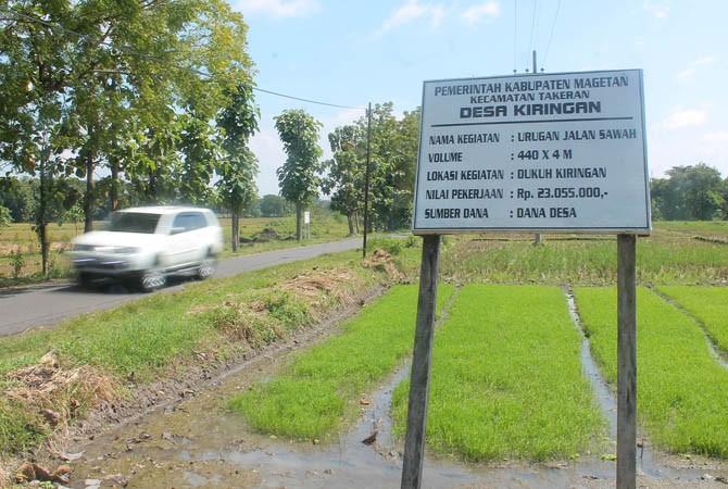 Salah satu proyek fisik di Desa Kiringan Kecamatan Takeran, Magetan, yang menggunakan dana desa