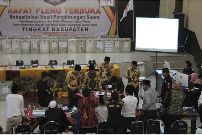LANCAR: Komisioner KPU Sampang menandatangani hasil rekapitulasi suara Pilgub Jawa Timur setelah semua PPK melaporkan hasil perolehan suara Kamis (6/7) siang.