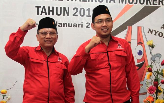 Akmal Boedianto-Rambo Garudo saat mendaftar di KPU Kota Mojokerto.