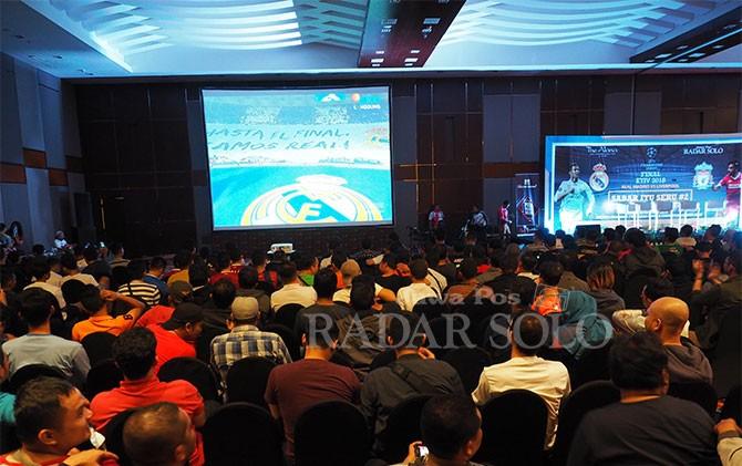 Suasana nobar Final Liga Champions 2018 di The Alana Hotel and COnvention Center-Solo, Sabtu (26/5).