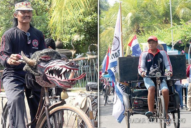 MEMBAUR: Bupati Syahri mulyo dan Wabup Maryoto Birowo langsung bergabung dengan peserta saat start.