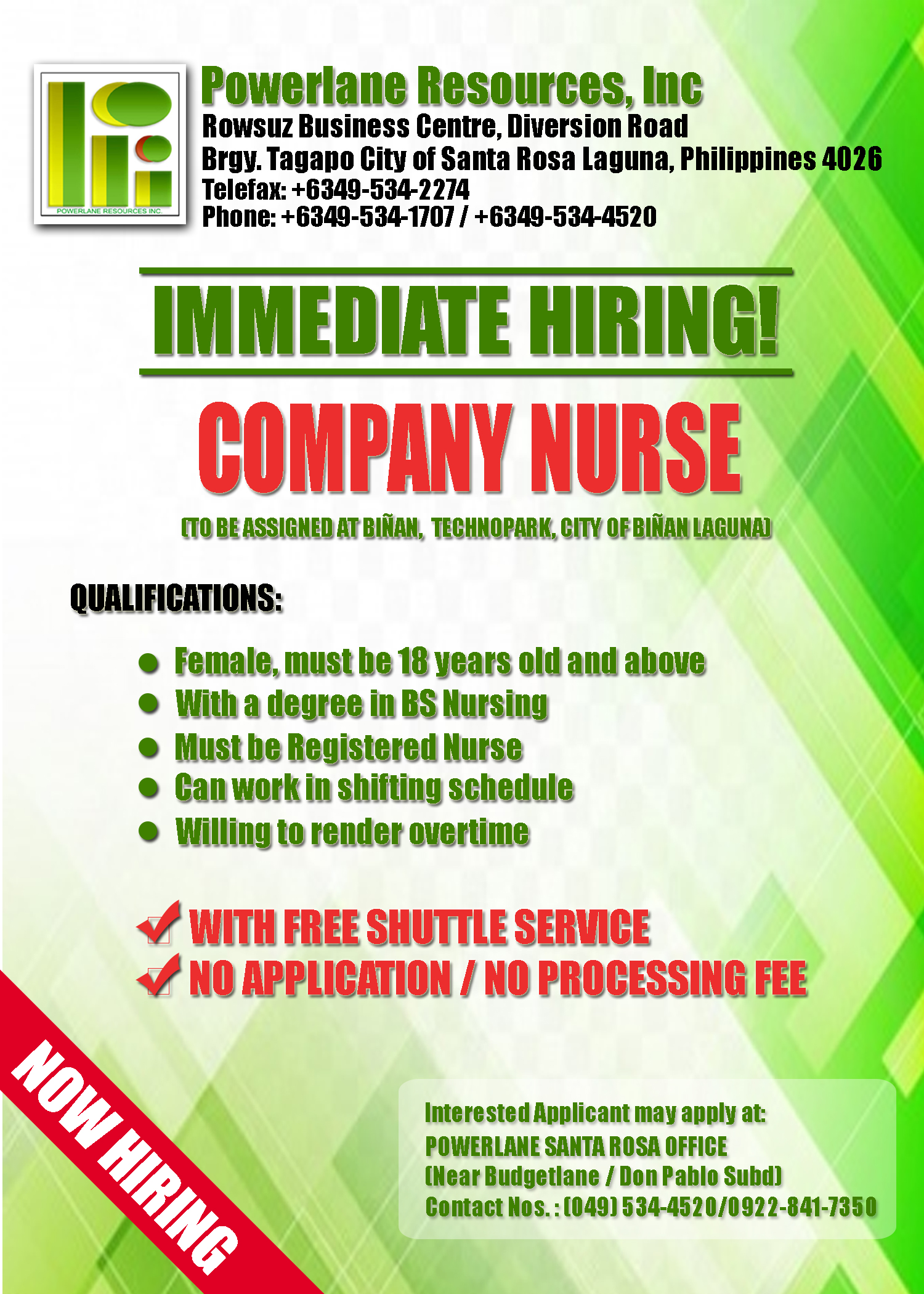 Company Nurse from Powerlane Resources Inc.
