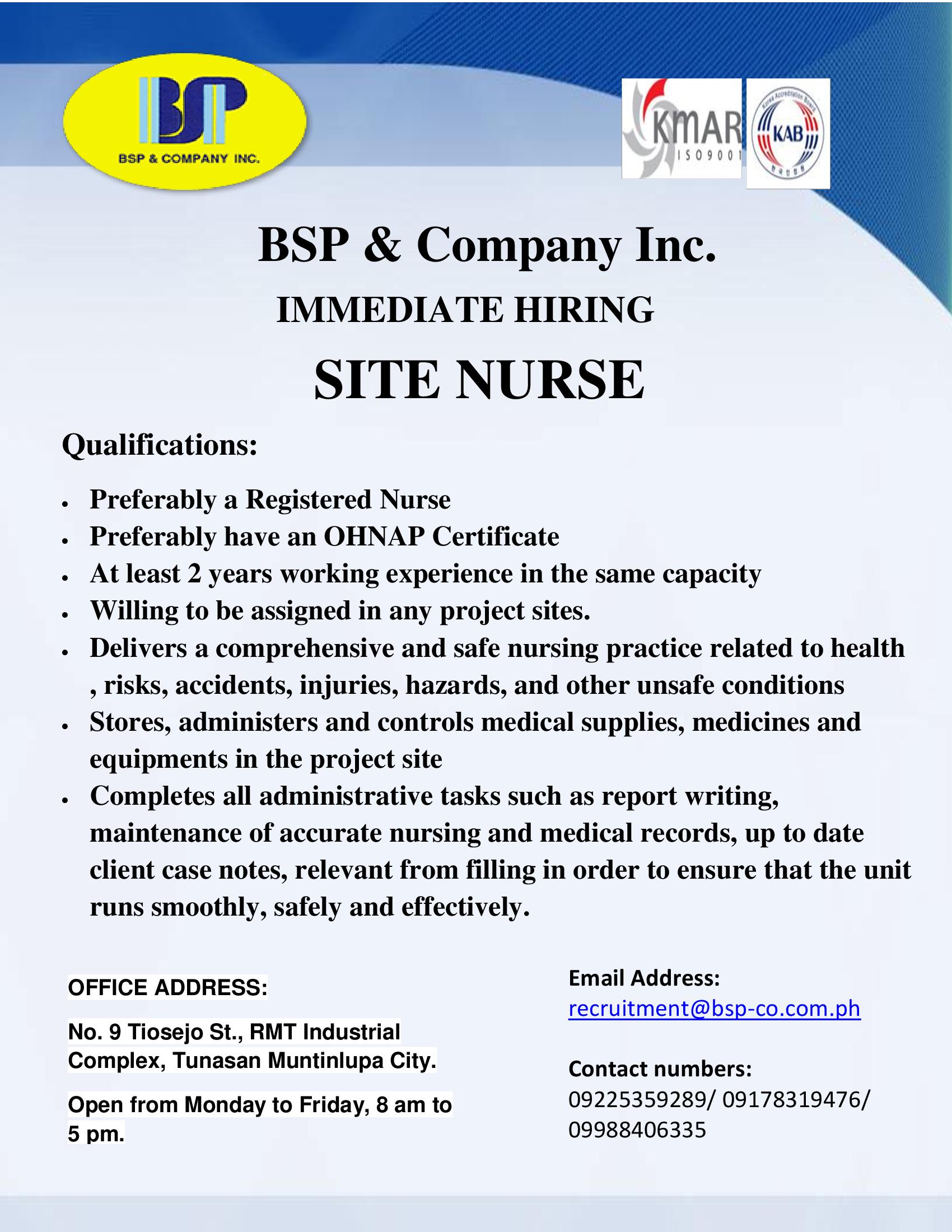 Site Nurse from BSP & Company Inc.