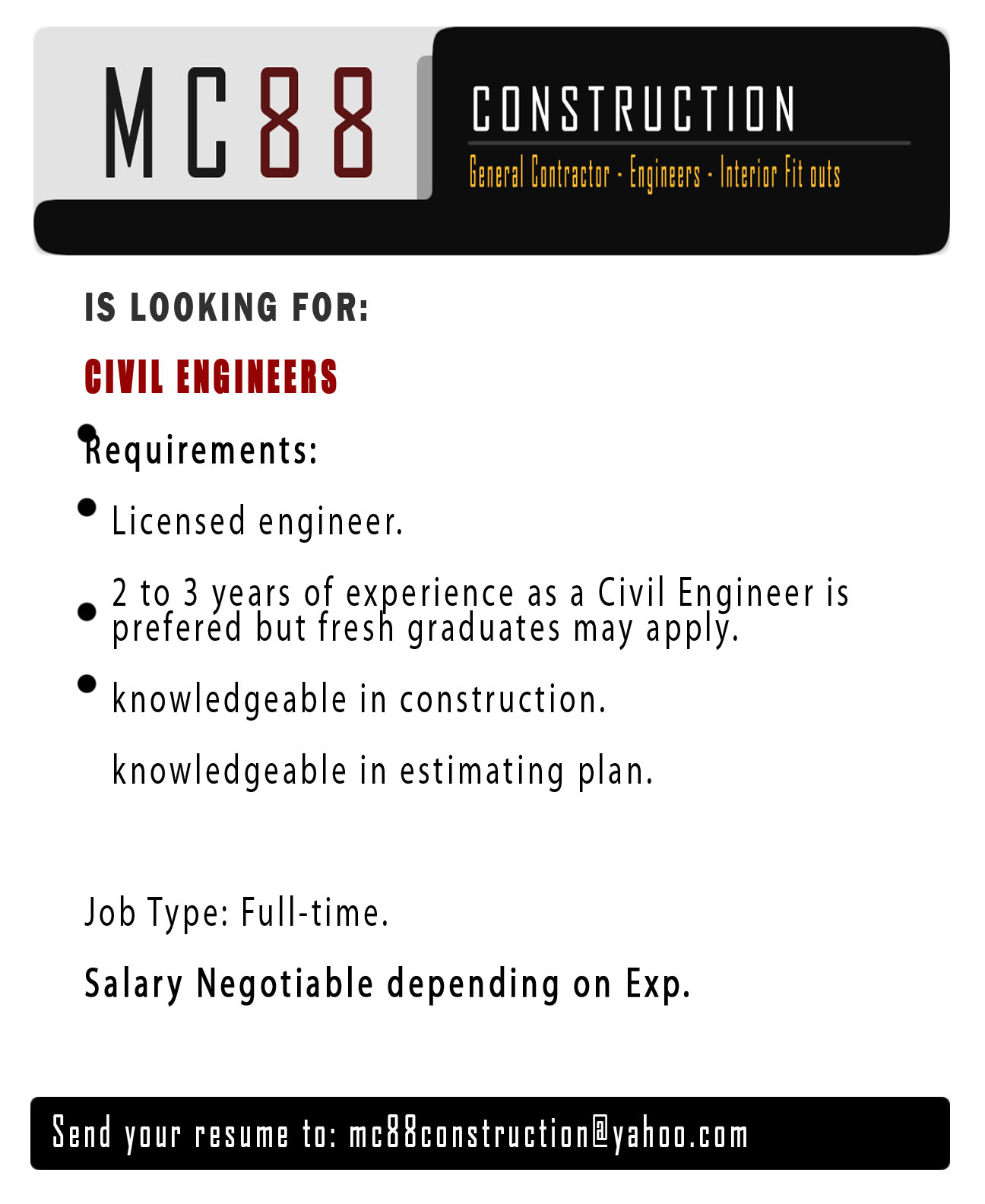 MC88 Construction from Quezon City is Looking for a Civil Engineer
