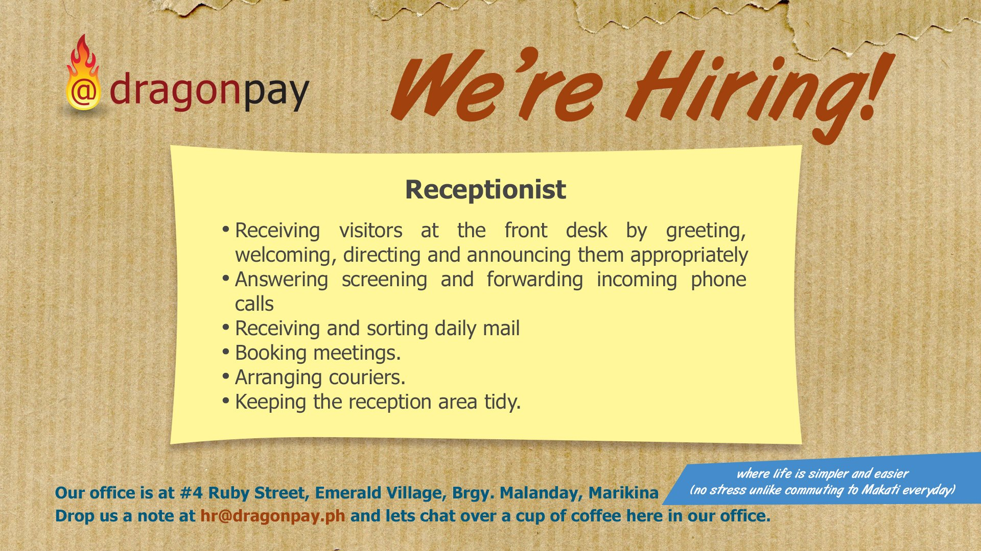 Receptionist From Dragonpay