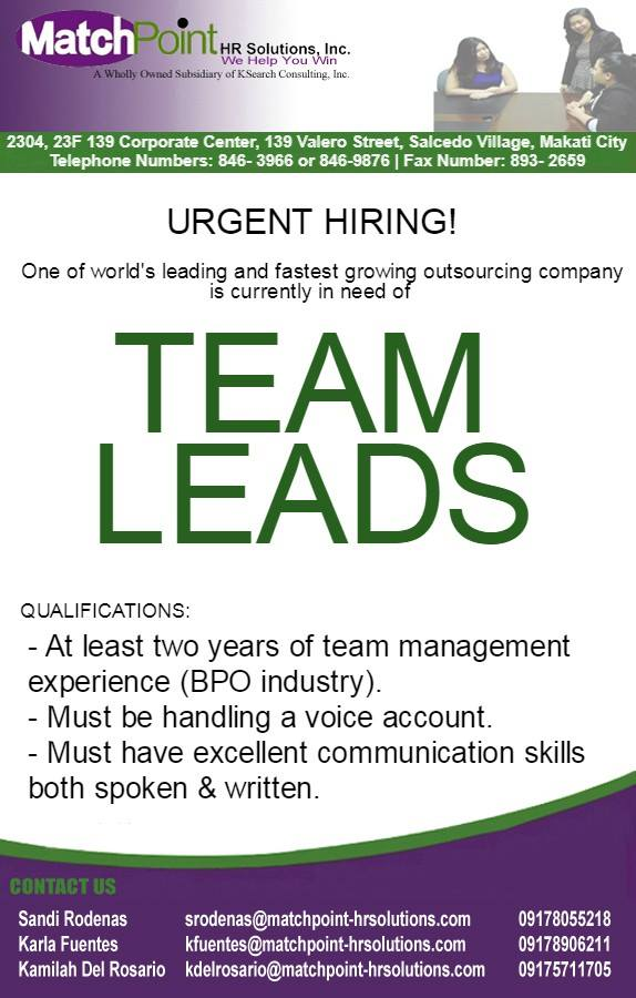 Team Lead - Customer Care from Matchpoint HR Solutions