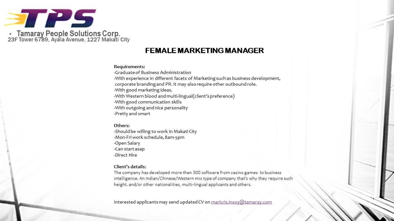 Marketing Manager from Tamaray People Solutions Corp.