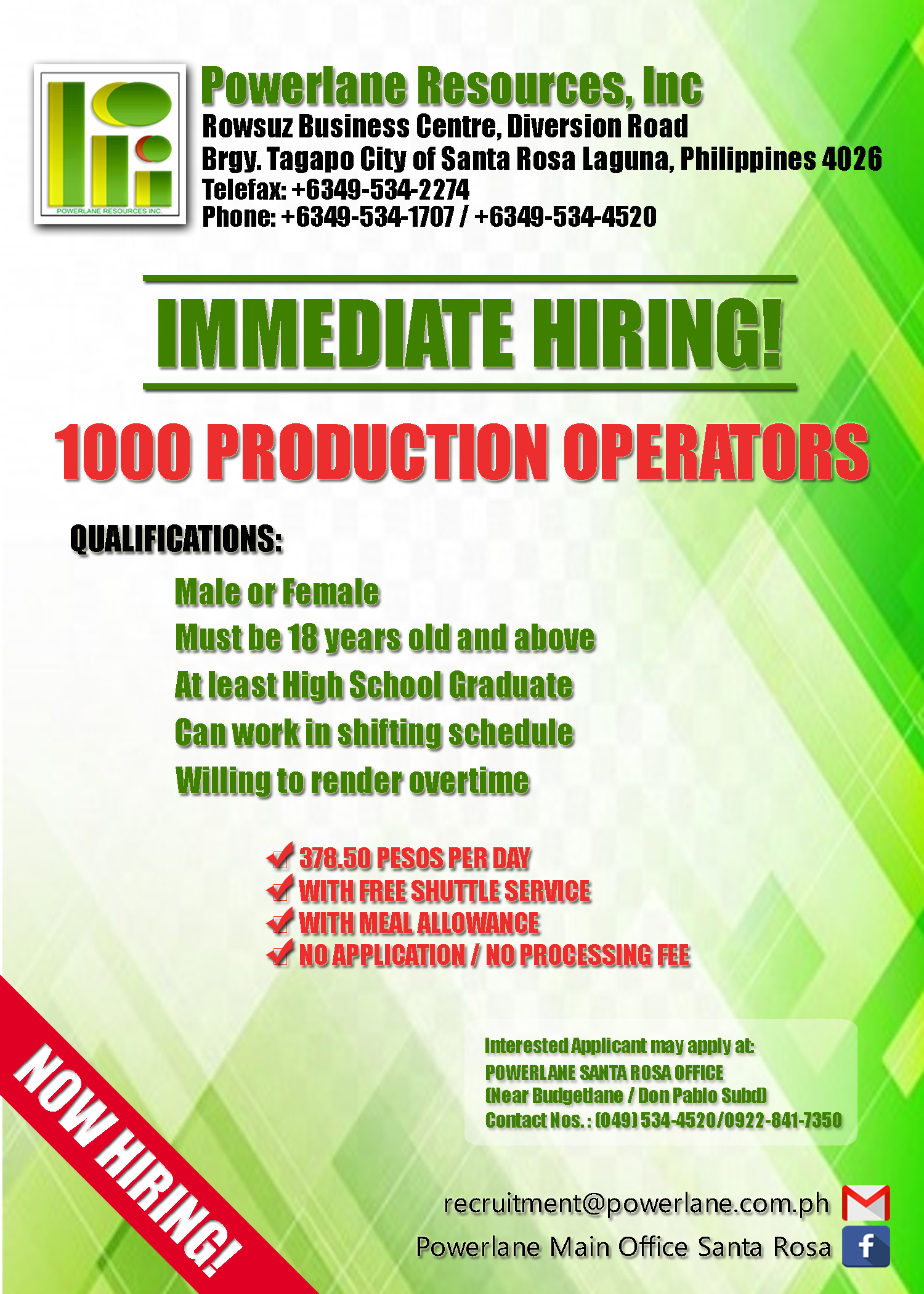 Production Operator from Powerlane Resources Inc.