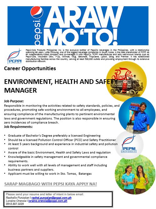 Environmental Health And Safety (ehs) Manager from Pepsi Cola Product Philippines Inc.
