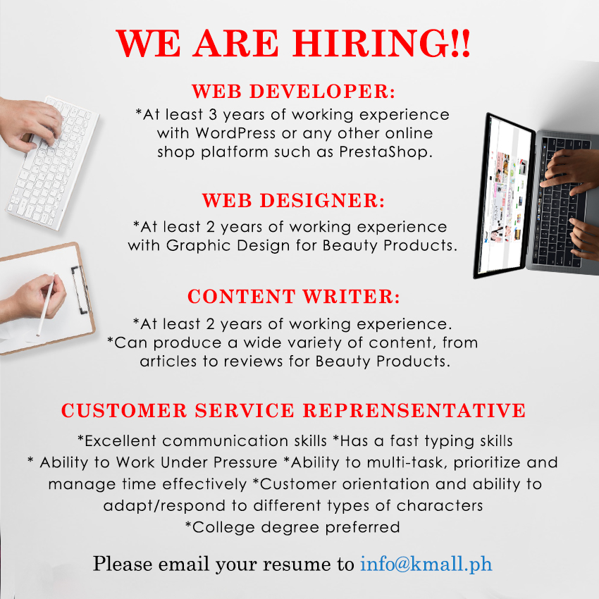 Kmall Philippines from Manila is Looking for a Customer Service