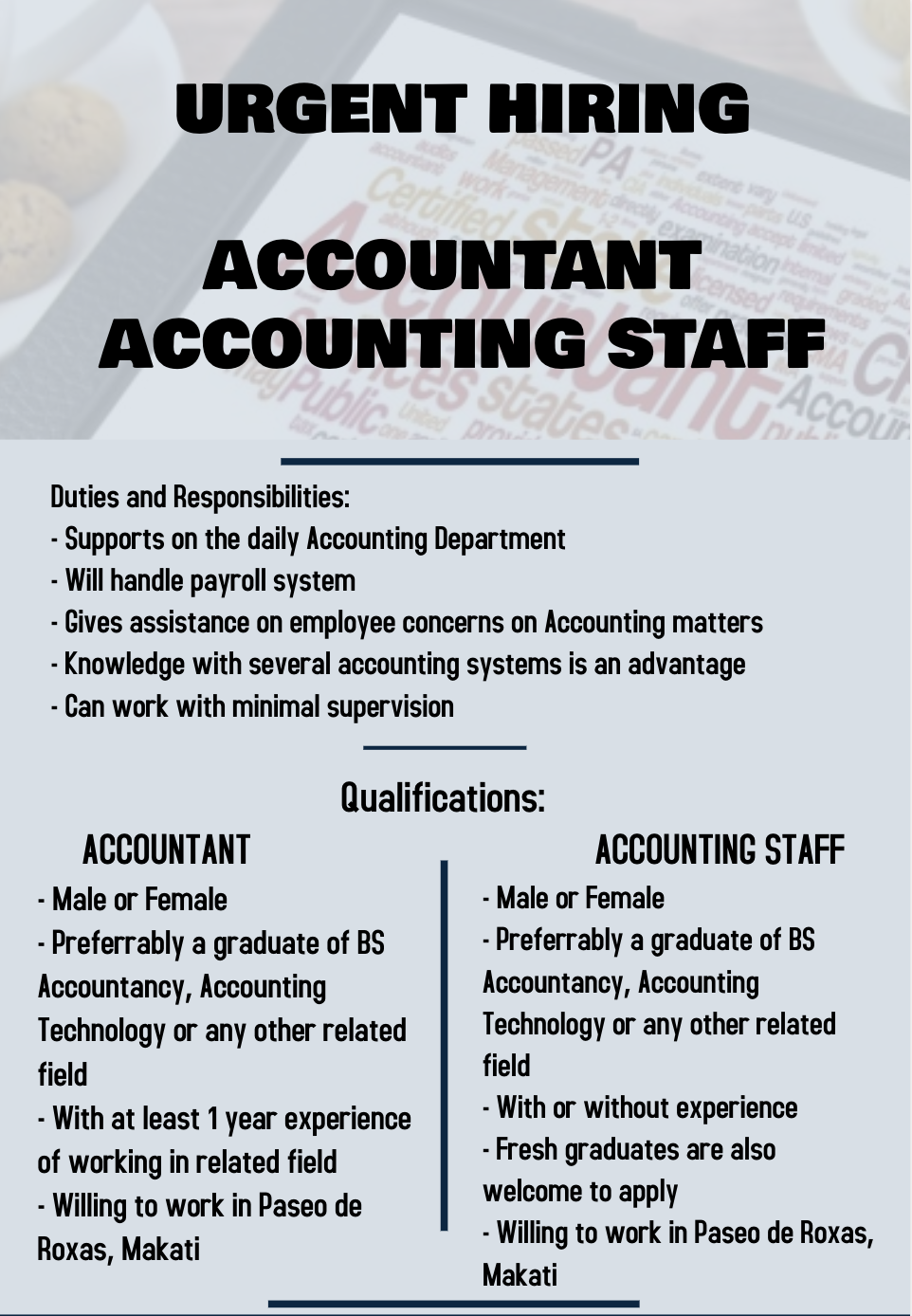 Accountant from Top Asia Management Solutions Inc.