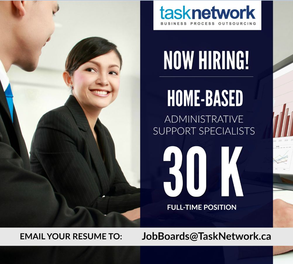 Now Hiring: P30,000 / Mo. Salary - Full Time Home-based Administrative Support Specialists from Task Network Inc.