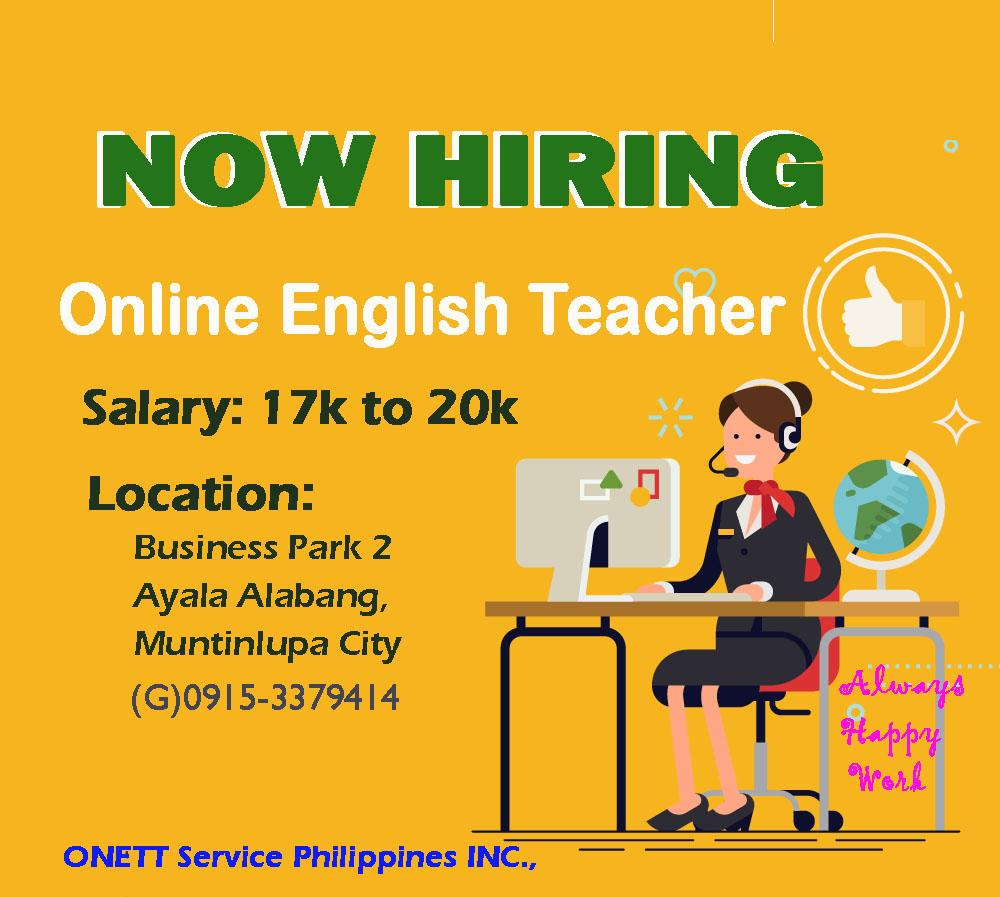 Online Esl Teacher from ONETT Service Phils. Inc.