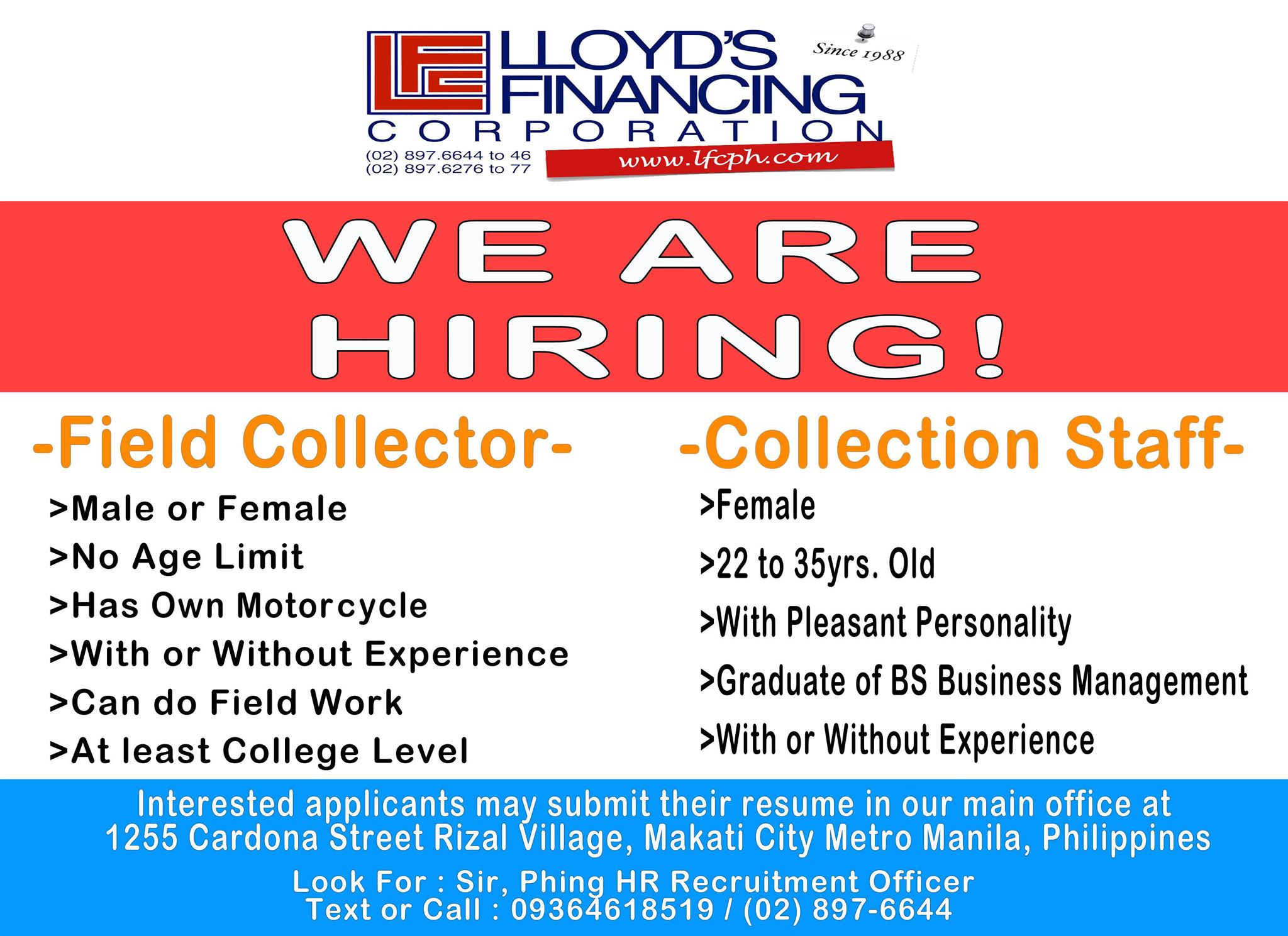 Field Collector from Lloyd's Financing