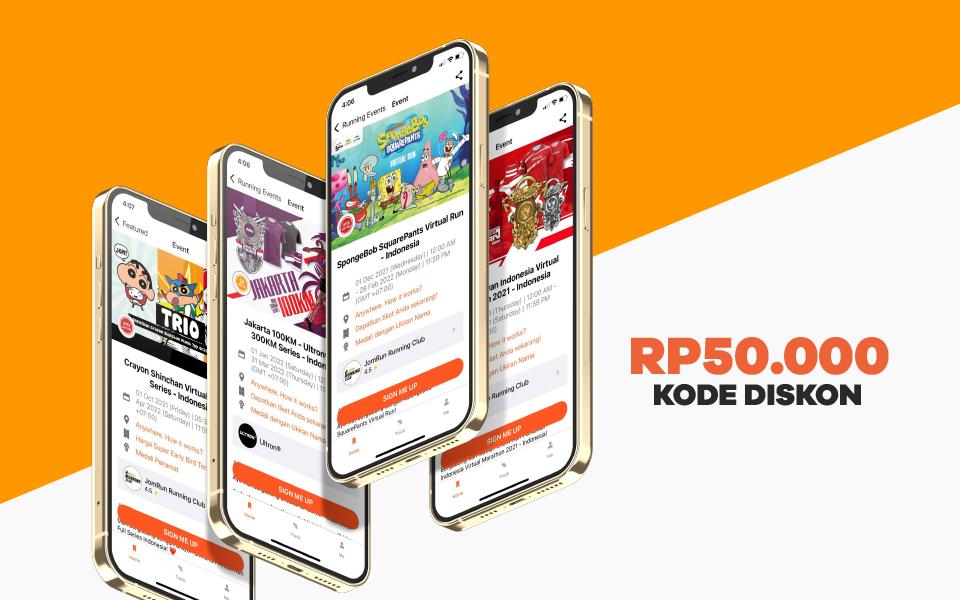 Menangkan kode diskon Rp50,000 untuk semua Virtual Run di JomRun!