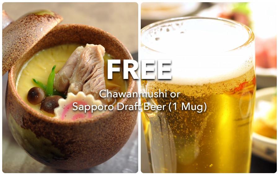 OTARU SUISAN: Free Chawanmushi or Sapporo Draft Beer (1 Mug)