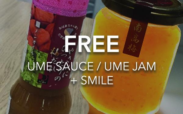 Taimatsu: FREE Ume Sauce / Ume Jam + Smile