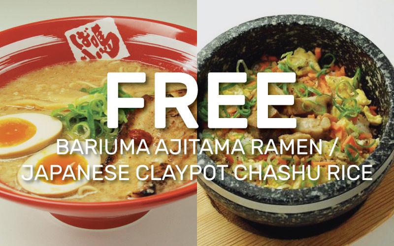 BARIUMA: Free Bariuma Ajitama Ramen / Japanese Claypot Chashu Rice