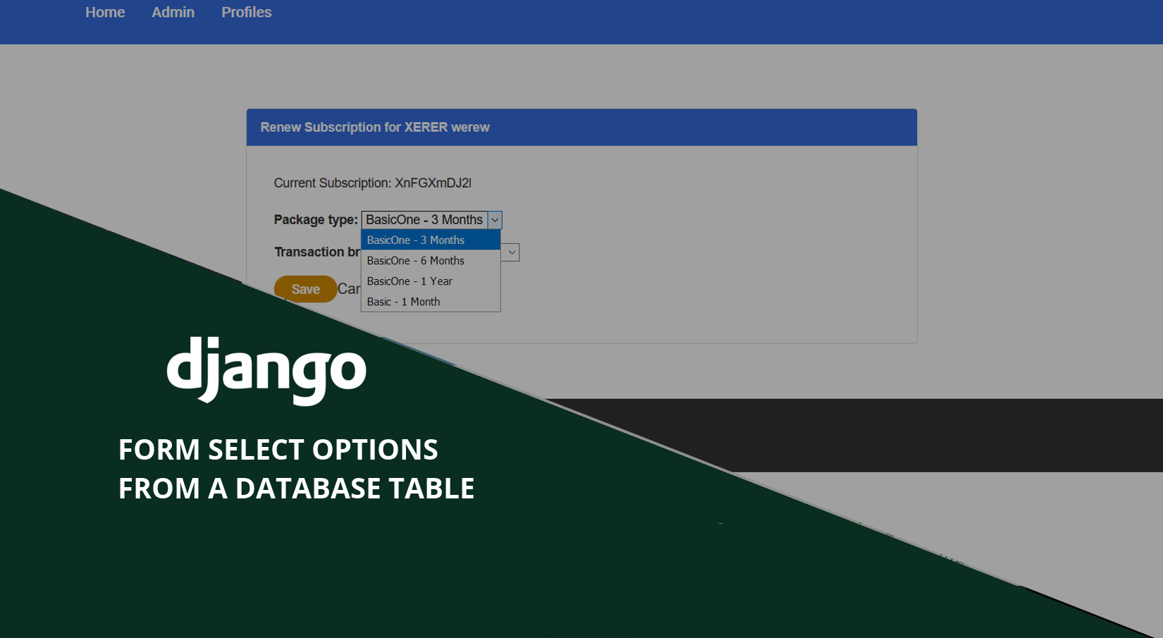 Django: Getting Form Select Options from a Database Table - Jeffrey