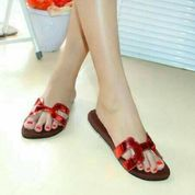 sandal sendal teplek flat hermes wanita cewe merah slip on b933a7cbc8