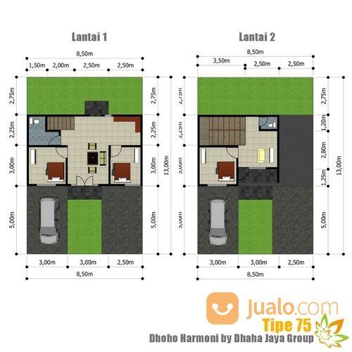 rumah baru cluster dhoho harmoni kota kediri tipe 75 dua lantai