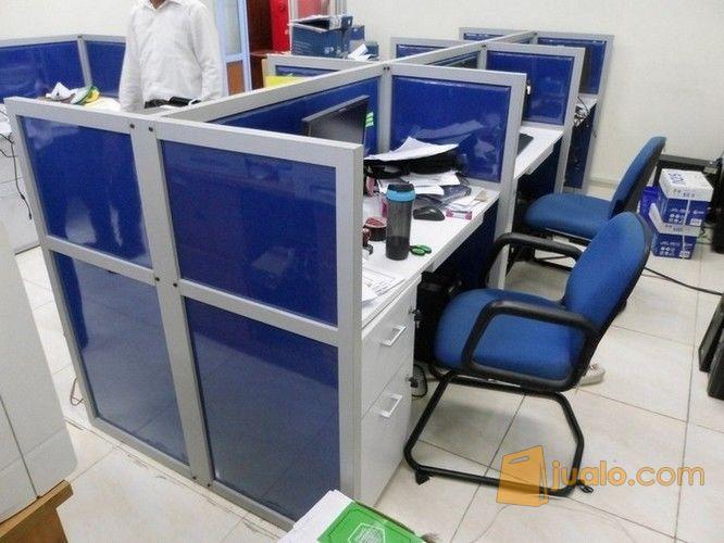 meja sekat kantor finishing kain - fabric cubicle workstation