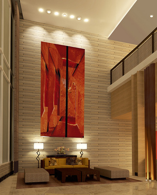 Lobby lounge with artwork