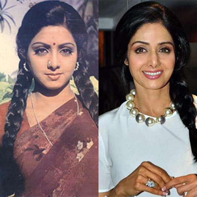 shridevi then and now