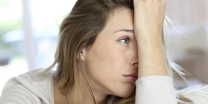 Sad face of blonde woman