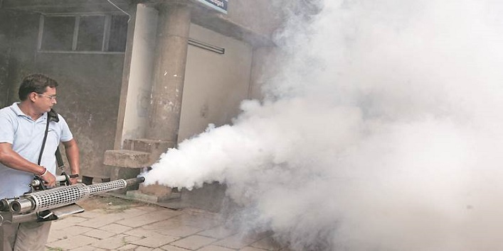 Anti Dengue spray at one of the govt office at Paryaas building