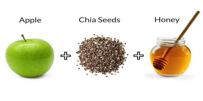 Honey, chia seeds and apple pack for exfoliating skin