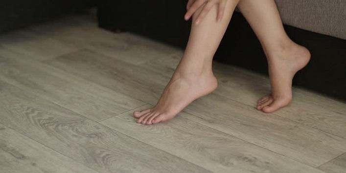 Walking bare foot on floor
