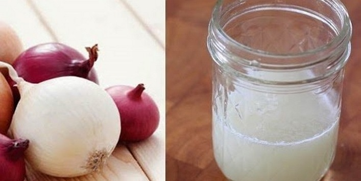 Onion juice for treating hair