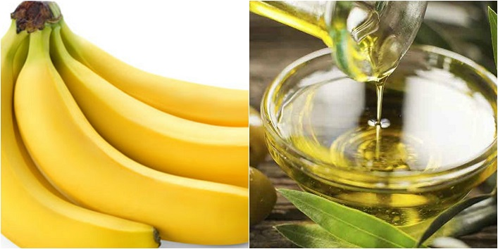 Banana and olive oil mask for soft skin